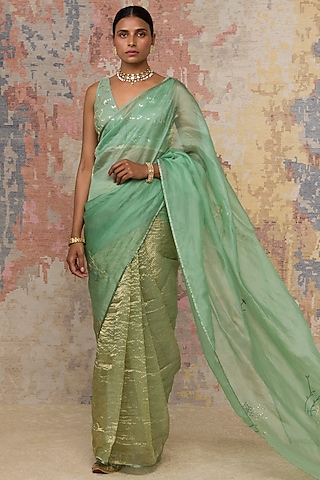 Green Embroidered Saree Set by Devnaagri