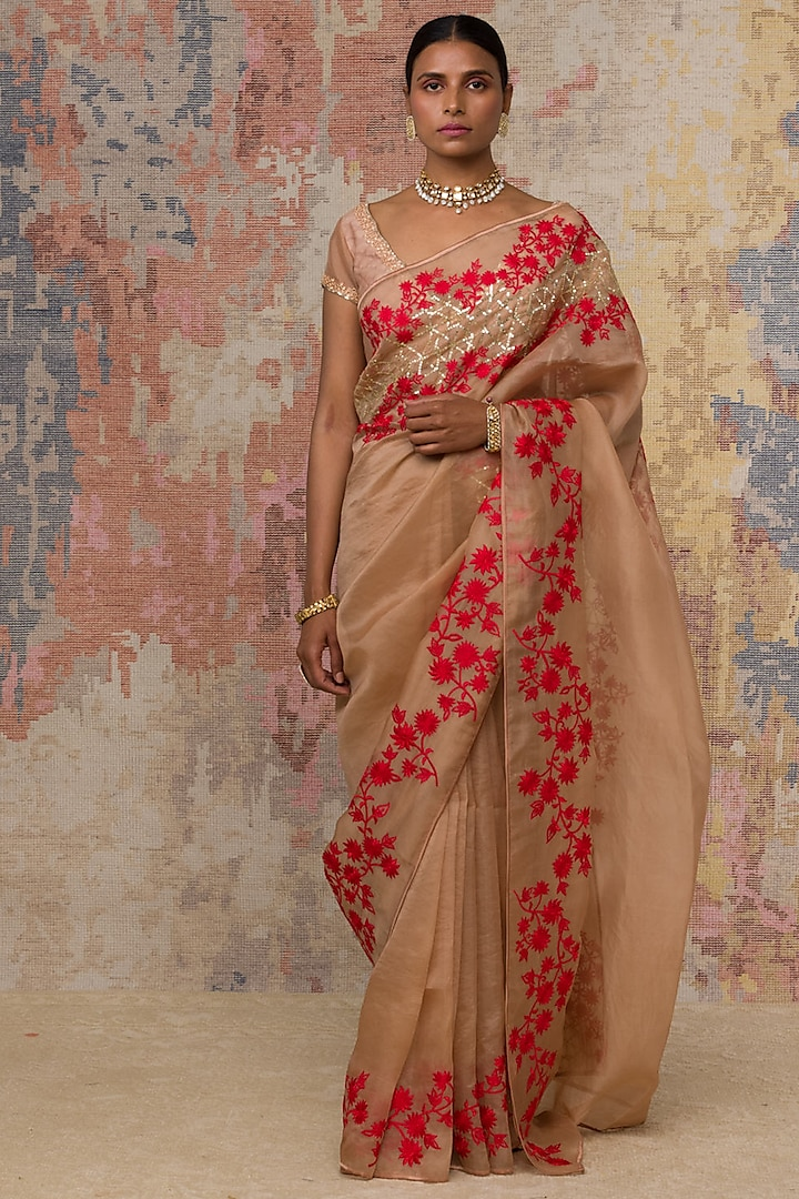 Beige Thread Embroidered Saree Set by Devnaagri
