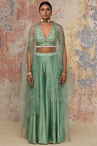 Green Embroidered Sharara Set by Devnaagri