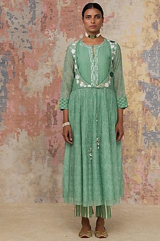 Green Hand Block Printed Anarkali Set by Devnaagri