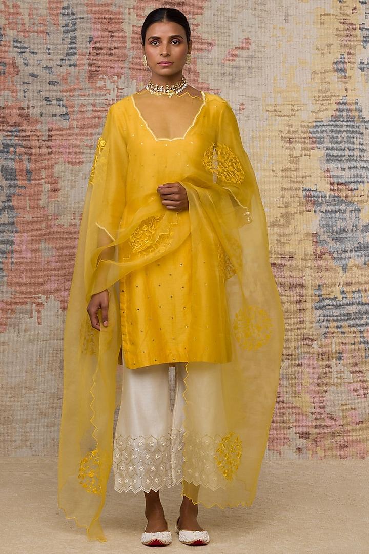 Mustard Block Printed Short Kurta Set by Devnaagri