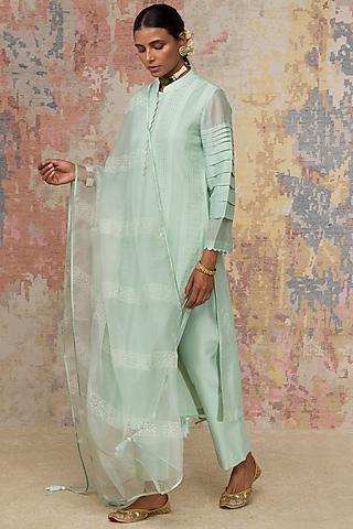 Sage Green Kurta Set With Pintuck Details by Devnaagri