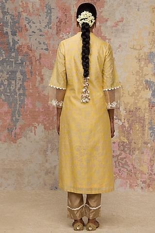 Yellow Hand Block Printed Kurta Set by Devnaagri