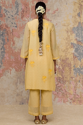 Lemon Yellow Hand Block Printed Kurta Set by Devnaagri
