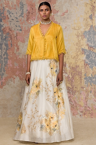 Ivory Hand Painted Skirt Set by Devnaagri