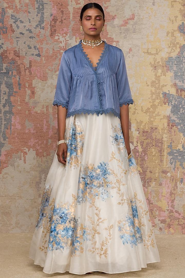 Ivory & Blue Hand Painted Skirt Set by Devnaagri