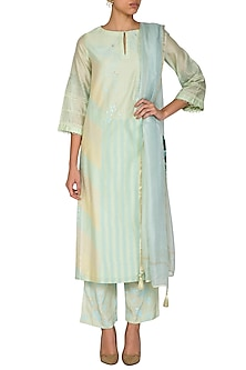 Mint Green Embroidered Printed Kurta Set by Devnaagri