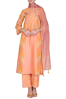 Light Orange Embroidered Printed Kurta Set by Devnaagri