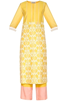 Yellow Embroidered Printed Kurta Set by Devnaagri