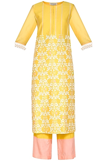 Yellow Embroidered Printed Kurta Set by Devnaagri