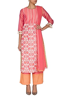 Rose Pink Embroidered Printed Kurta Set by Devnaagri