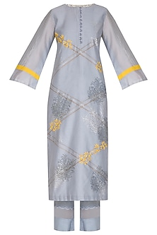 Ash Blue Embroidered Printed Kurta Set by Devnaagri