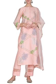 Light Pink Embroidered Printed Kurta Set by Devnaagri