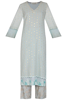 Aqua Blue Embroidered Printed Kurta Set by Devnaagri