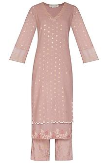 Onion Pink Embroidered Printed Kurta Set by Devnaagri