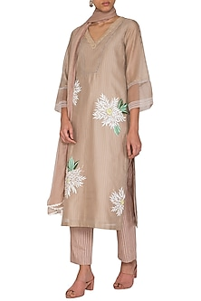 Beige Hand Painted & Embroidered Kurta Set by Devnaagri