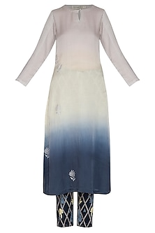 Blue Embroidered & Printed Ombre Kurta Set by Devnaagri