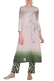 Green Embroidered & Printed Ombre Kurta Set by Devnaagri