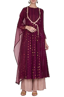 Burgundy Embroidered Anarkali Set by Devnaagri