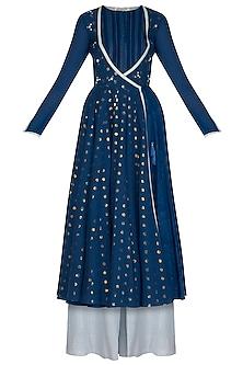 Blue Embroidered Anarkali Set by Devnaagri