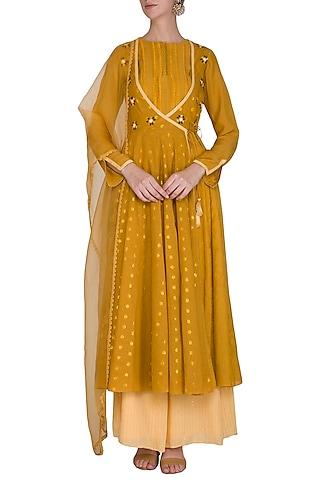 Mustard Embroidered Anarkali Set by Devnaagri