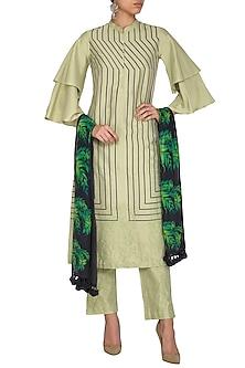 Green Embroidered Printed Kurta Set by Devnaagri