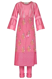 Pink Embroidered Printed Kurta Set by Devnaagri