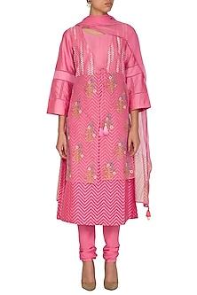 Pink Embroidered Printed Kurta Set by Devnaagri