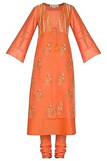 Orange Embroidered Printed Kurta Set by Devnaagri