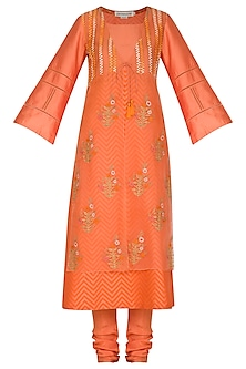 Orange Embroidered Printed Kurta Set by Devnaagri