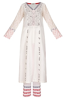 Light Pink Embroidered Printed Kurta Set by Devnaagri