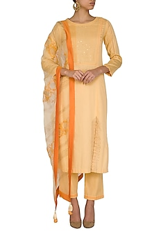 Mango Yellow Embellished Printed Kurta Set by Devnaagri