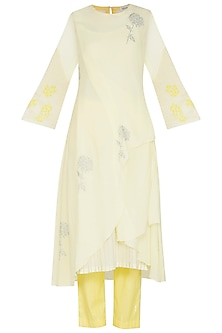 Lemon Yellow Embroidered Printed Kurta With Pants by Devnaagri