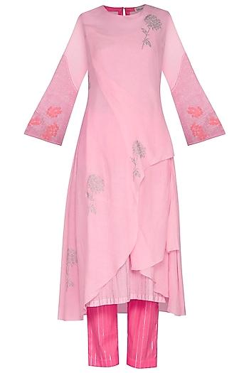 Pink Embroidered Printed Kurta With Pants by Devnaagri
