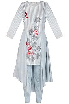 Grey Embroidered Printed Kurta Set by Devnaagri