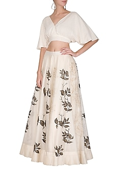 Off White Embroidered & Hand Painted Lehenga Skirt With Crop Top by Devnaagri
