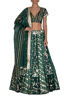 Emerald Green Embroidered Leheriya Lehenga Set by Devnaagri