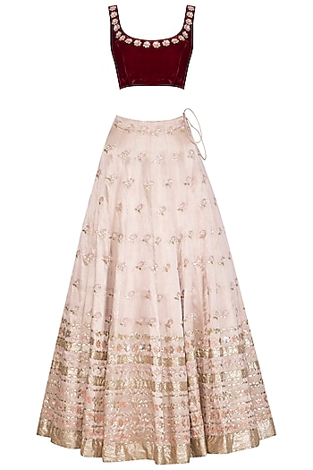 Apricot Blush Pink Embroidered Lehenga Set by Devnaagri