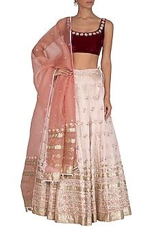 Apricot Blush Pink Embroidered Lehenga Set by Devnaagri
