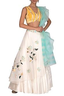 Ivory & Yellow Painted & Embroidered Lehenga Set by Devnaagri