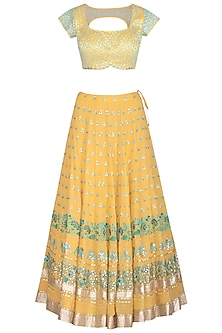 Yellow Embroidered Lehenga Set by Devnaagri
