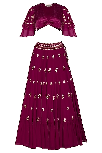 Plum Red Embroidered Frilled Lehenga Set by Devnaagri