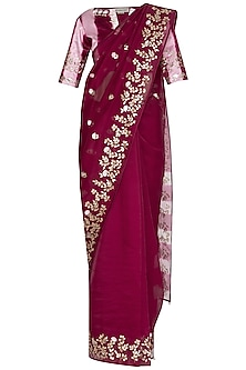 Red Plum Embroidered & Tie-Dye Saree Set by Devnaagri