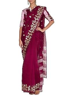 Red Plum Embroidered & Tie-Dye Saree Set by Devnaagri