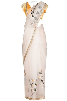 Ivory & Yellow Painted & Embroidered Saree Set by Devnaagri