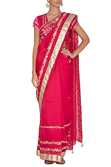 Fuchsia Embroidered Saree Set by Devnaagri