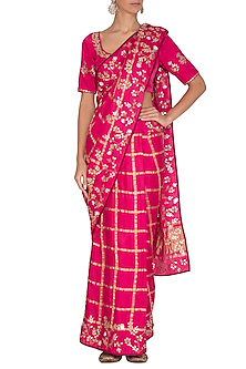 Fuchsia Embroidered Checkered Saree Set by Devnaagri