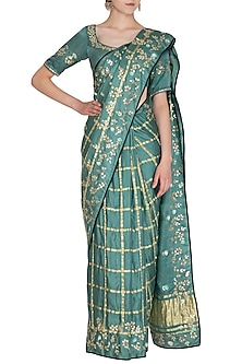 Emerald Green Embroidered Checkered Saree Set by Devnaagri