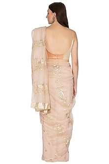 Apricot Blush Pink Embroidered Saree Set by Devnaagri