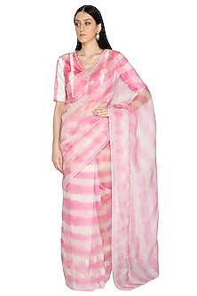 Blush Pink Tie & Dye Embroidered Saree Set by Devnaagri